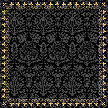 Gold Frame on Damask Background - Damask background is behind a clipping mask.  Pattern is also included in swatches panel.  Colors are global for easy editing.