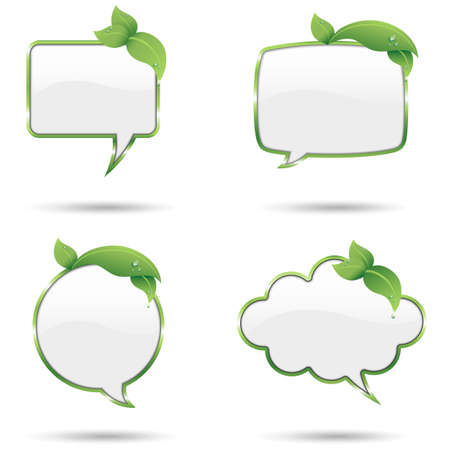 dewdrop: Leaf Speech Bubbles - Green speech bubbles with fresh leaves and dewdrops.  Colored with global swatches, so file can be recolored easily.  All elements are grouped separately, and file is layered for easy editing. Illustration