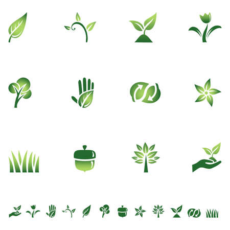 energy conservation: Green Ecology Icons - Set of icons with different symbols of the green movement. Each icon is grouped individually for easy editing.  Colors are global, so they can be changed easily. Illustration