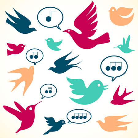 レトロな鳥 - レトロな鳥のデザインをセットします。 色は簡単に編集用グローバルです。  イラスト・ベクター素材