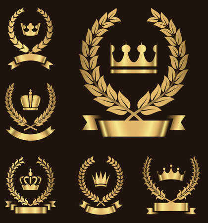 tiara: Gold Heraldry Emblems - Set of gold heraldry emblems with crown, wreath and banner.  Colors in gradients are global, so they can be changed easily.  Each emblem is grouped individually for easy editing.