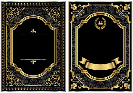 Goldweinlese-Scroll Rahmen - Set bestehend aus zwei Vintage-Stil Scroll-Rahmen mit Gold und Damast Details. Damast-Muster-Farbfeld ist bereits in der Farbfelder-Panel für die einfache Nutzung. Standard-Bild - 36478760