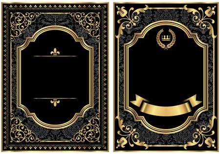 oro: Oro Vintage Scroll Frames - Conjunto de dos cuadros de desplazamiento de estilo vintage con oro y damasco detalles. Muestra de motivo Damasco ya está en el panel de muestras para un uso sencillo. Vectores