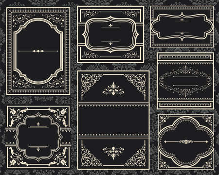 Ornate Vintage Frames - Set of Ornate vector frames.  Each frame is grouped individually for easy editing.  Colors are global.  Seamless pattern included in swatches window.  イラスト・ベクター素材