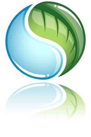 plantes aquatiques: Concept Nature - Nature ic�ne concept avec une gouttelette de la feuille et de l'eau comme un symbole yin yang. Ic�ne et la r�flexion sont group�es s�par�ment pour faciliter le montage. Toutes les couleurs sont globale afin qu'ils puissent �tre modifi�s facilement. Illustration