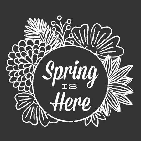 Chalk Spring Floral Background - Chalkboard style Spring background with text.  Colors are global.
