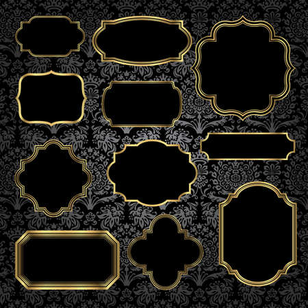 label frame: Gold Vintage Frames on Damask Background - Set of gold vintage frame and label shapes on seamless damask background. Damask background is behind a clipping mask, and damask pattern swatch is already in the swatches panel for easy use.