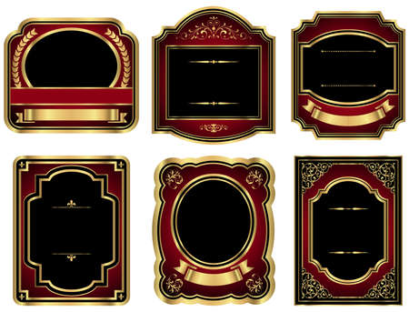 brown: Gold Vintage Labels - Set of 6 vintage style labels with gold, black and red details.  Colored with just a few global swatches, so colors can be modified easily.  Each label is grouped individually for easy editing.