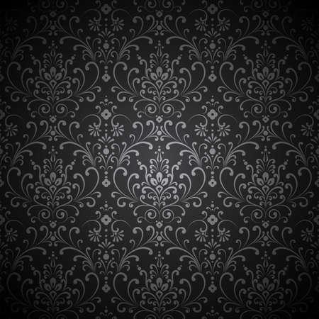 ダマスク織ビネット - ビネットとシームレスなダマスク織パターン。パターンのスウォッチはスウォッチ パネルに含まれております。  イラスト・ベクター素材