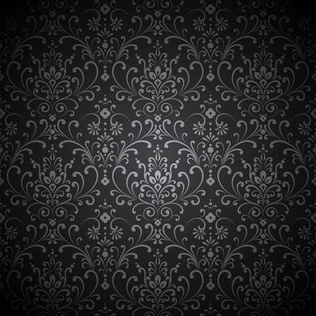 grey: Damask Vignette - Seamless damask pattern with vignette.  Pattern swatch is included in swatches panel.