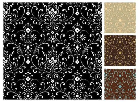 Damask Patterns - Seamless damask pattern in 4 color variations.  Pattern swatches are also included in swatches panel.  イラスト・ベクター素材