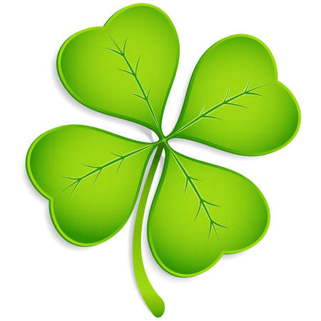 Four-Leaf Clover - Realistic vector four-leaf clover with shadow.  Elements are grouped separately, and file is layered for easy editing.  Colored with global swatches, so file can be recolored easily.