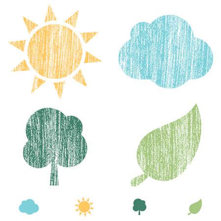 Crayon Word Bubbles - Set van 4 pictogrammen van de aard met een krijtje textuur. De kleuren zijn globaal en kunnen gemakkelijk worden bewerkt. Stock Illustratie