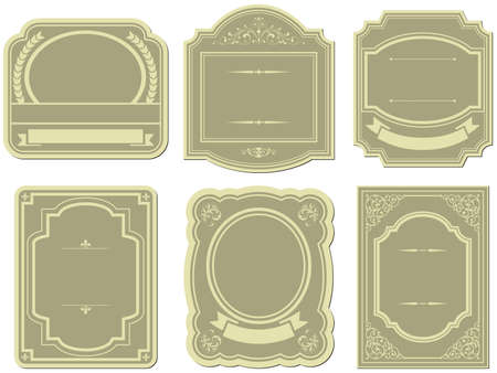 Set of vintage style labels Çizim