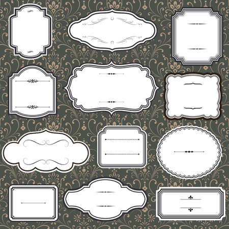 design borders: Set of Vintage frame and label shapes on seamless damask background
