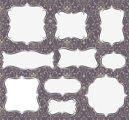 Set of calligraphic frame and label shapes on seamless damask background