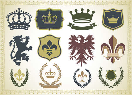 Heraldry Ornaments Isolated on a gradient Background. Illustration