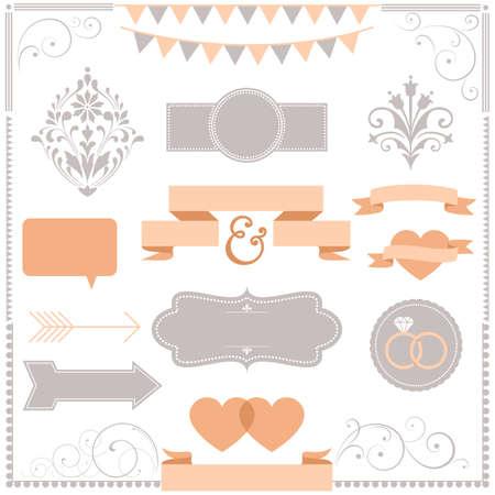 Set of Wedding invitation design ornaments Banco de Imagens - 37404453