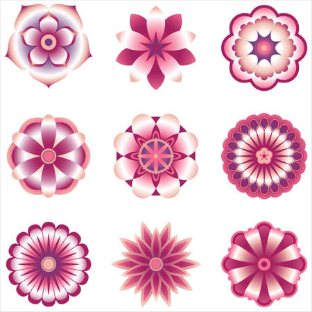 Flower Element Set - Set of 9 vector flowers with shading.  Colored using simple gradients and flat colors only.  Colors are just a few global swatches, so they can be modified easily.