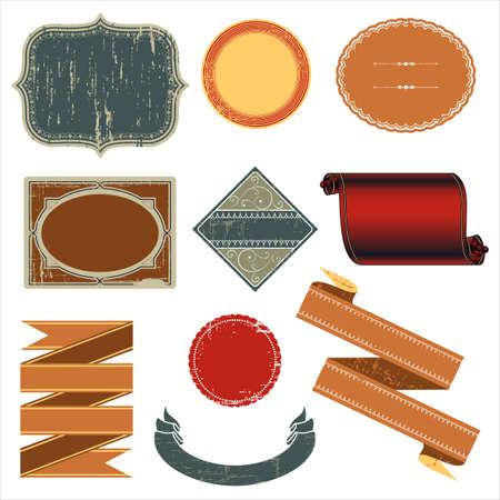 빈티지 라벨 - 빈티지 레이블 디자인의 집합입니다. 색상이 쉬운 편집을위한 글로벌 있습니다. 텍스처는 별도의 레이어에 있습니다.