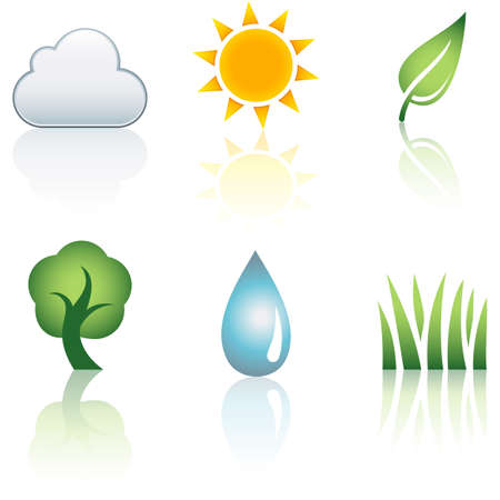 Nature Icon Set - Set of 6 nature icons.  Each element is grouped separately for easy editing.  Colors are just a few global swatches, so file can be recolored easily.