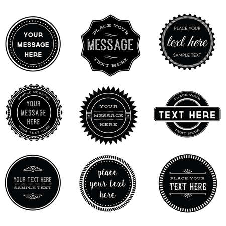 seal: Vector Set of Retro Stamps and Badges - Set of 9 vintage black and white stamps and labels. Each element is grouped for easy editing.