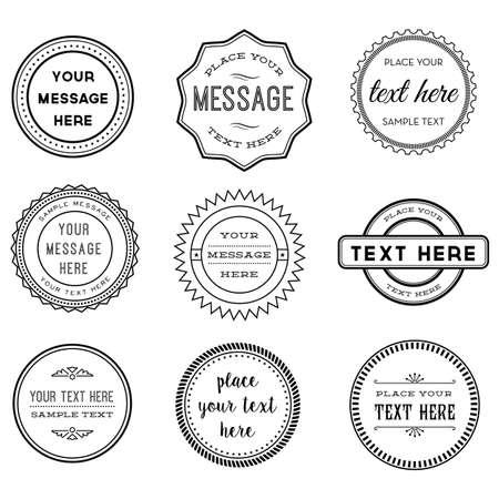 Vector set of Retro Timbres et insignes - Ensemble de 9 timbres et des étiquettes en noir et blanc vintage. Chaque élément est regroupé pour faciliter le montage.