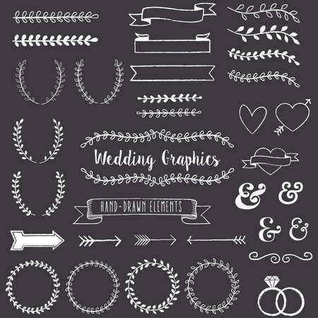 Chalkboard Wedding Clip Art - Chalkboard Style clip art set. Each element is grouped for easy editing. Çizim