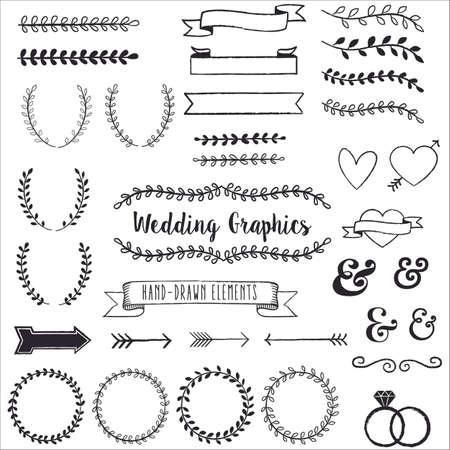 coeur diamant: Dessin� main clip art de mariage - Main clip art dessin� ensemble. Chaque �l�ment est regroup� pour faciliter le montage.