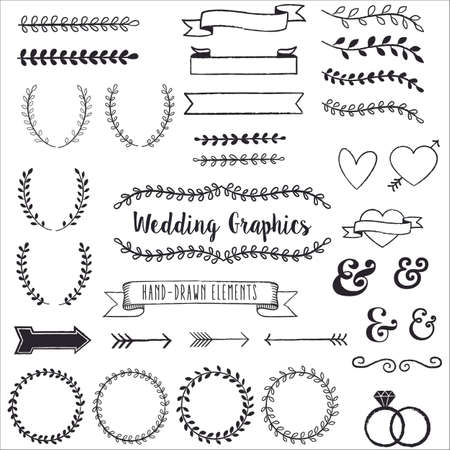 grouped: Hand Drawn Clip Wedding Art  - Hand drawn clip art set. Each element is grouped for easy editing.