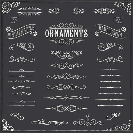 Chalkboard Ornaments - Collection of hand drawn, chalk vintage ornaments