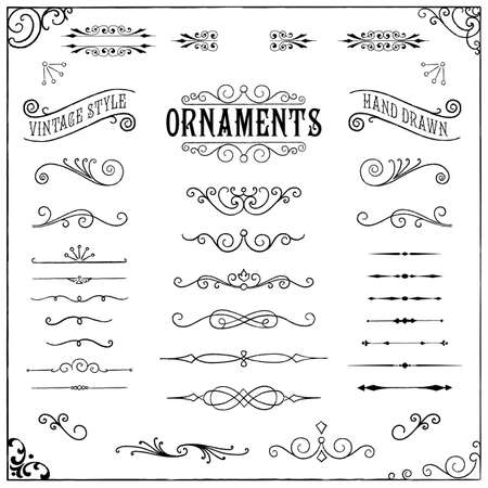 Vintage Ornaments - Collectie van de hand getekende vintage ornamenten Stock Illustratie