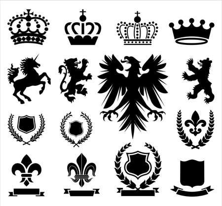 紋章の装飾品のオーナメント、王冠、動物紋章付き外衣を含むおよびバナー様々 な紋章のセット。