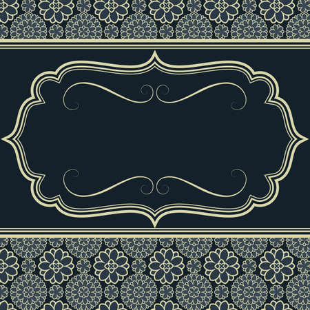 Blue Invitation Design - Frame on seamless damask background.  Damask tile is included in swatches window.  Colors are global for easy editing.