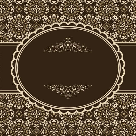 Brown Invitation Design - Frame on seamless damask background.  Damask tile is included in swatches window.  Colors are global for easy editing.