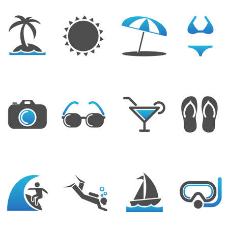 individually: Beach Icons - Set of 12 Beach and Summer vector icons.  Each icon is grouped individually. Illustration