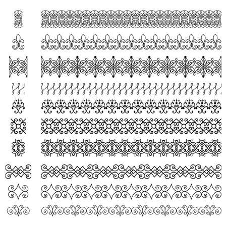 Repeating Borders Set - Set of repeating borders.  Main border elements are included for each border pattern.  Repeating borders are also included in brushes window. Banco de Imagens - 39377107