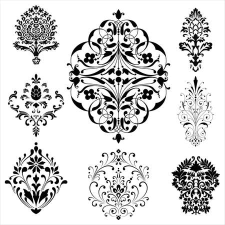 seamless damask: Damask Ornaments - Set of damask ornaments.  Each ornament is grouped individually for easy editing. Illustration