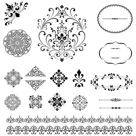 fancy: Ornaments & Borders Set - Set of black vector ornaments.  Repeating border brushes are included in brush window.
