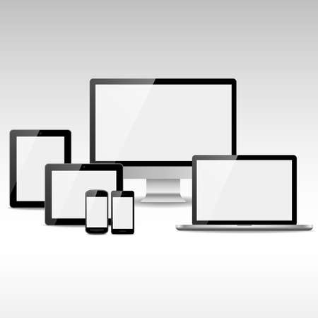 electronic devices: Computers, Tablets and Phones with White Screens - Set of electronic devices with white, shiny screens. Devices include desktop computer, laptop, tablets and smartphones.   Illustration