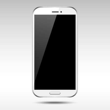 phone button: White Smartphone - Vector white smartphone with blank, shiny screen.  Illustration