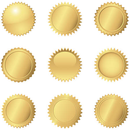 gold star: Gold Seals  Set of 9 different gold seals.
