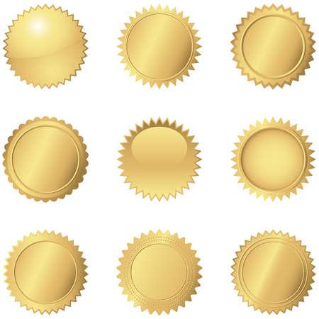 Sellos del oro Conjunto de 9 sellos de oro diferentes. Foto de archivo - 39604065