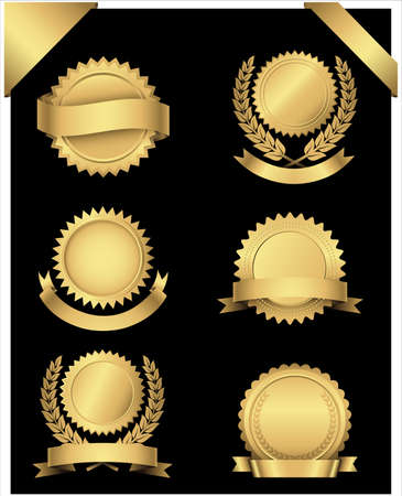 gold banner: Gold Seals and Corners  Set of 6 different gold seals with banners and wreaths and 2 gold corner banners.