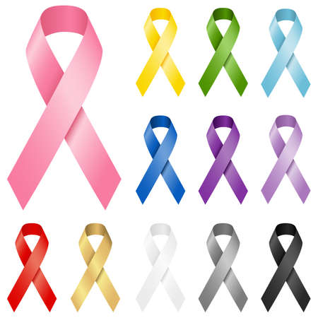 Awareness Ribbons  Set of realistic awareness ribbons in 12 different colors.