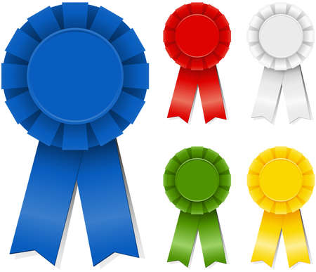 Award Ribbons  Set of award ribbons in five different colors. Banco de Imagens - 39564086