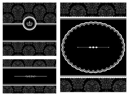 rule line: Frames on Damask Background  Set of frame backgrounds. Illustration