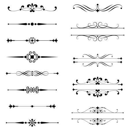 fronteiras: Tipogr�fico ornamentos Rule Lines Jogo de divisores de texto. Ilustra��o