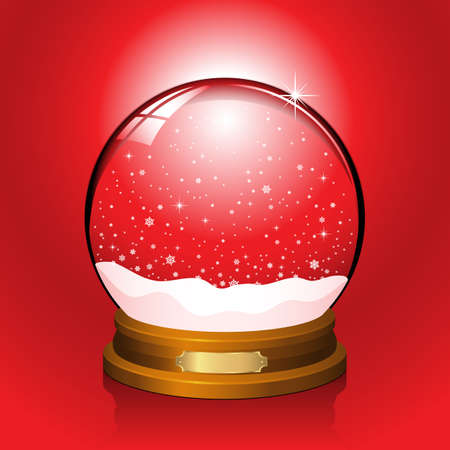 Red Snow Globe  Realistic snow globe with falling snowflakes.