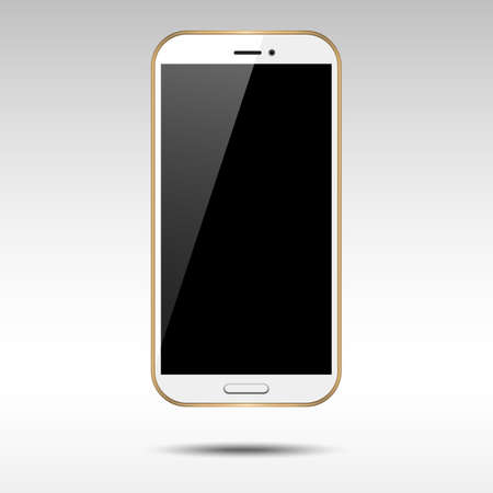 Gold Smartphone  gold and white smartphone with blank shiny screen.  Vectores